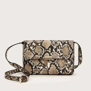 Snakeskin print crossbody bag tan vegan leather